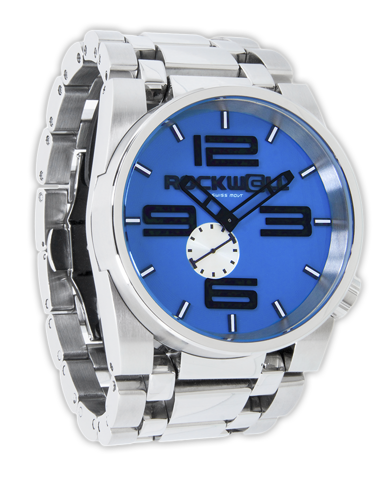 50mm silver blue rockwell watches